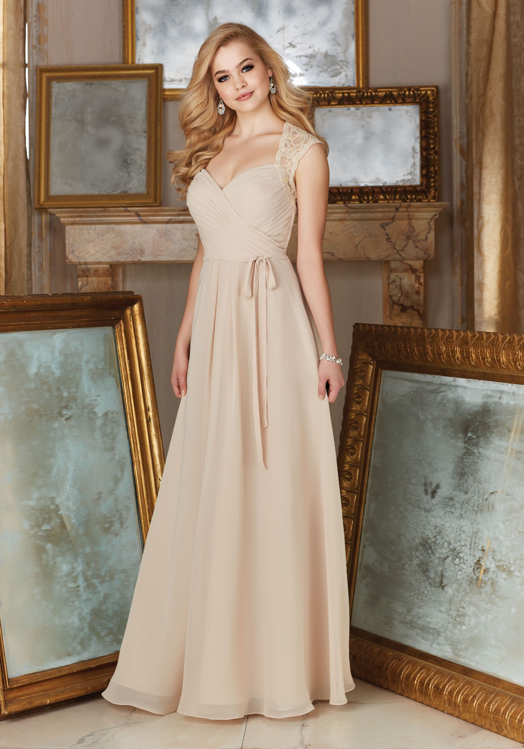 Beaded lace and chiffon material bridesmaid dress designed by beaded lace and chiffon material bridesmaid dress designed by madeline gardner matching tie sash included ombrellifo Gallery