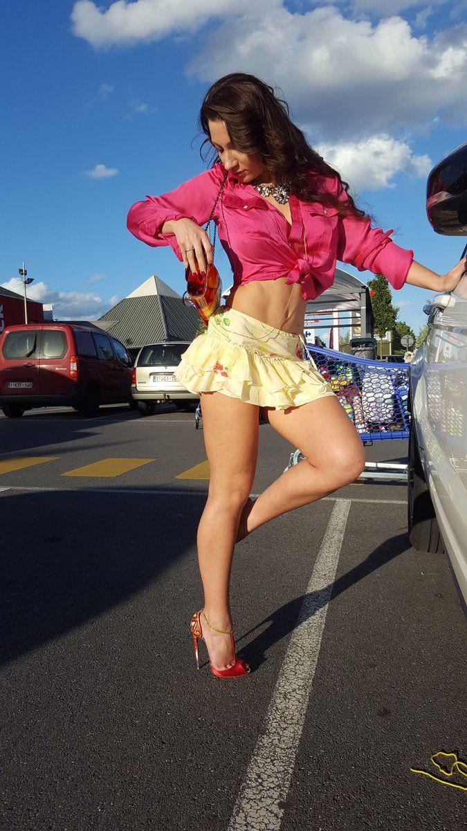 Bikini top mini skirt high heels