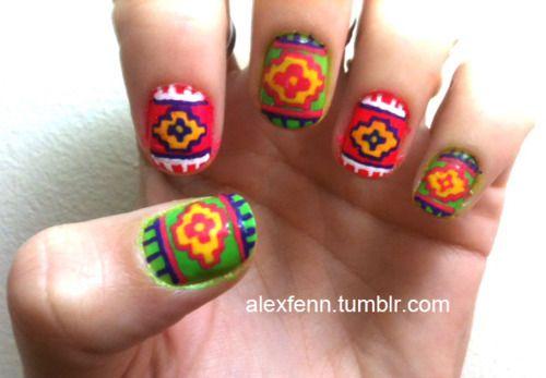 Cute Aztec Nails Hairnails Pinterest Aztec Nails Red Nails