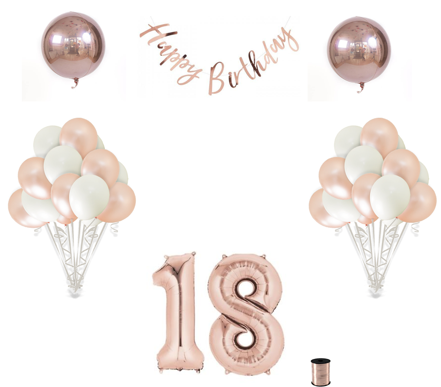 18th Birthday Balloon Decoration Set Rose Gold 30th Birthday Balloons 30th Birthday Decorations Birthday Balloon Decorations