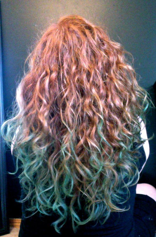 redhead hair chalking ginger dip-dye teal aqua blue green