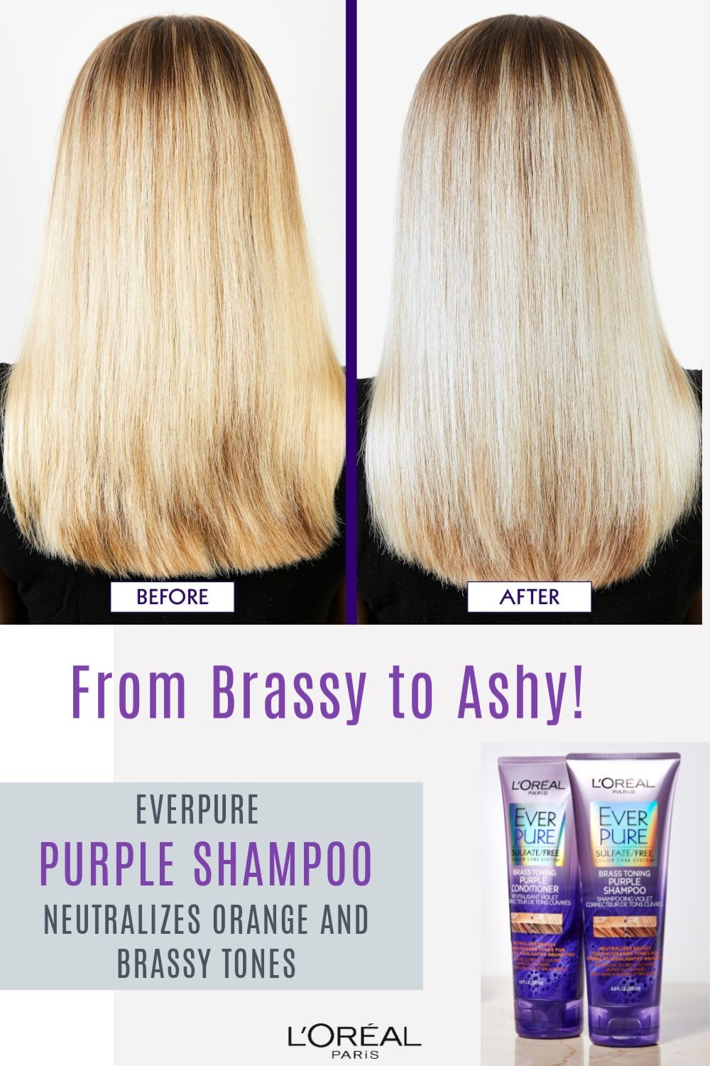 Brass Toning Purple Shampoo For Blonde Bleached Silver Or Brown Highlighted Hair Purple Shampoo For Blondes Brown Hair With Highlights Purple Shampoo