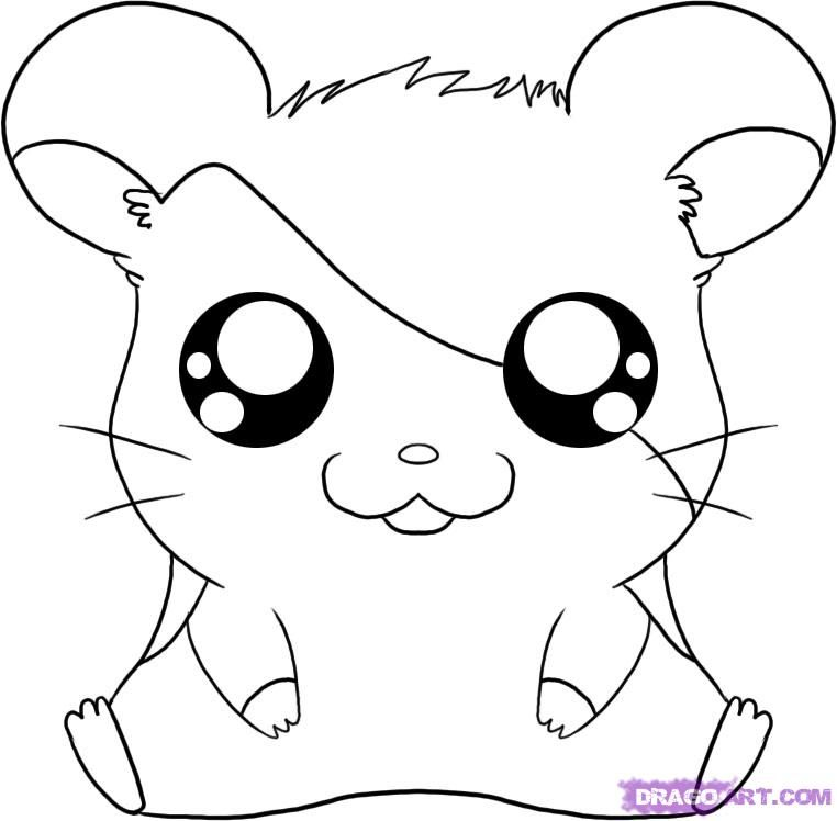 How to draw cartoons how to draw hamtaro from the for How to draw a cute house