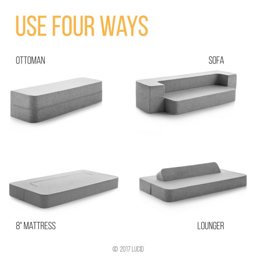 best loved ca87e e5d0b Amazon.com: LUCID 8 Inch Convertible Foam Sofa and Foldable ...