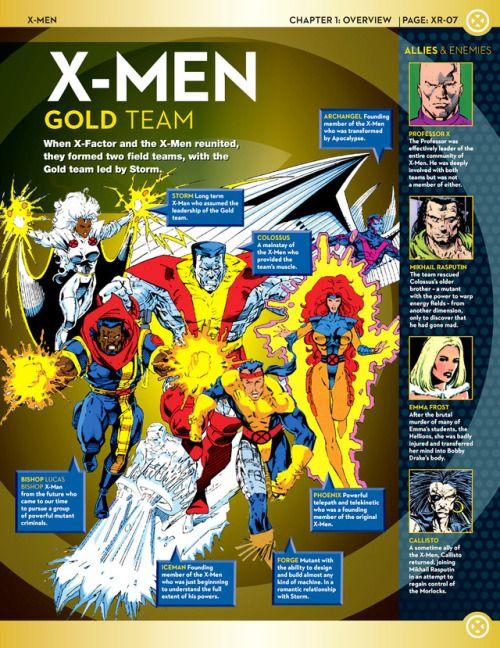 X Men 90s Gold Team Profile On Marvel Fact Files 7 2013 X Men Comics Marvel Facts