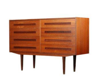 Credenza Danese Anni 50 : Cassettiera bassa legno teak design danese anni 50 vintage
