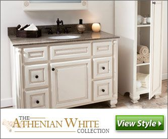 The Athenian White Collection Cream Bathroom Cabinets Solid Wood Construction Dovetail And Full Extension Drawers