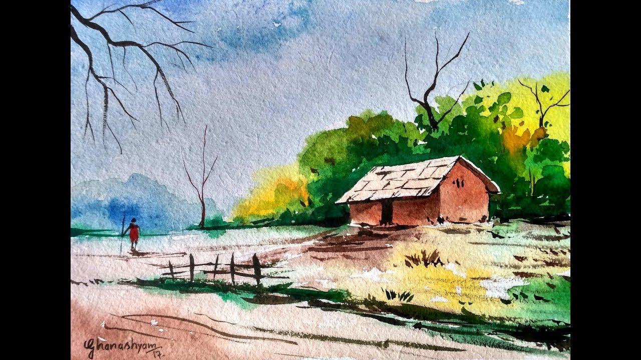 Simple Watercolor Village Landscape Paint With David