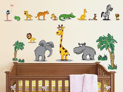 Wandsticker Wandtattoo Kinderzimmer Zoo Set 32 Teile