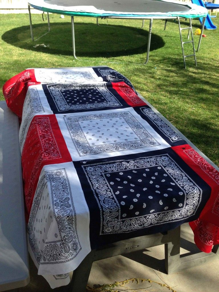 I have been wanting to make a bandana tablecloth, and I finally did! It was so easy that I wanted to share with you how I did it. I chose to make one for the 4th of July, and I LOVE IT! It turned out just like I wanted. You will need: bandanas in the color of your choice, I needed 12 (I got them at Walmart for $1 each) sewing machine iron Wash, dry, and iron your bandanas. Then lay them out on the floor how you want the finished product to look. After you are finished with that, take them 3…