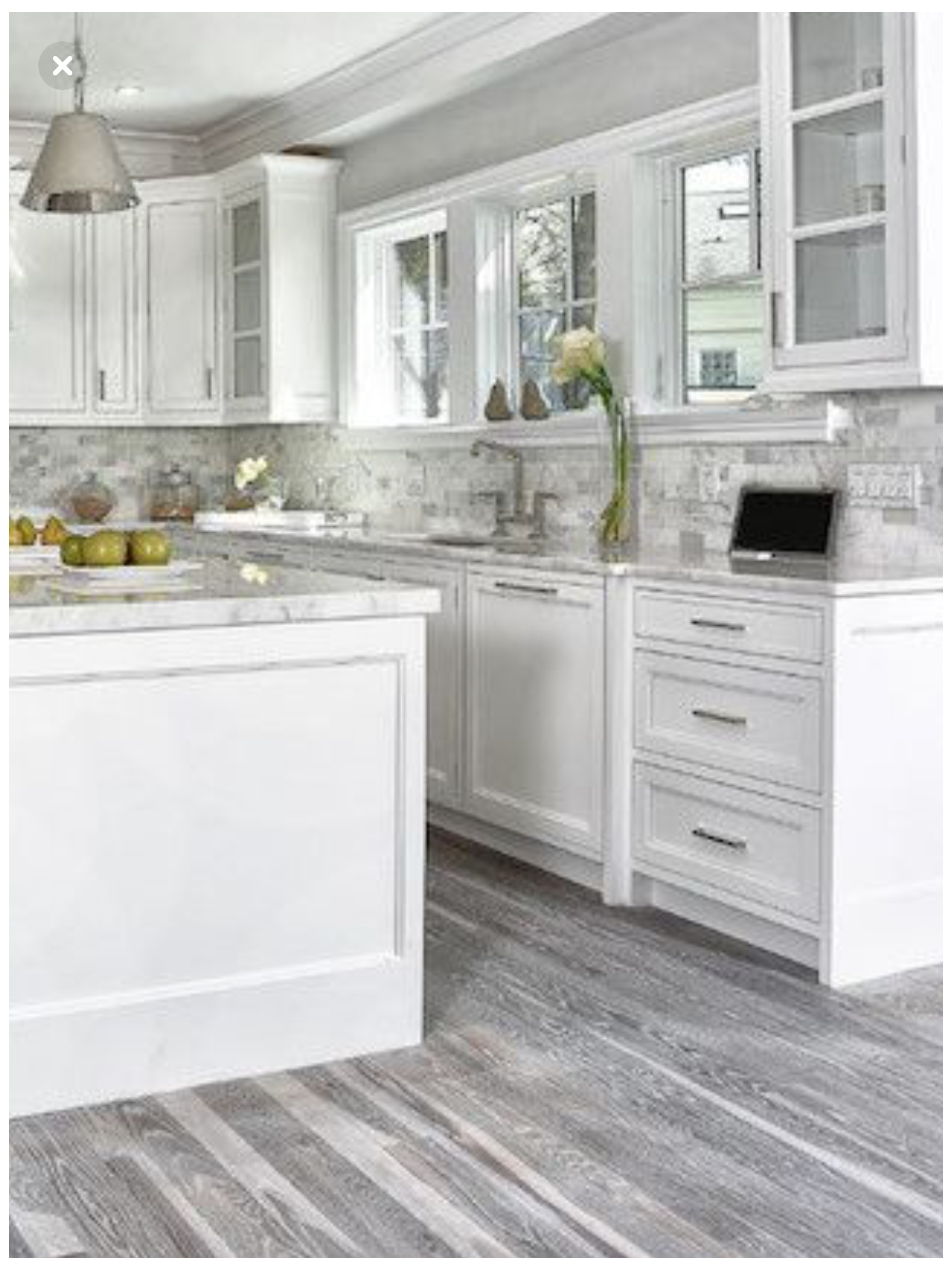 white cabinets kitchen grey floors ...
