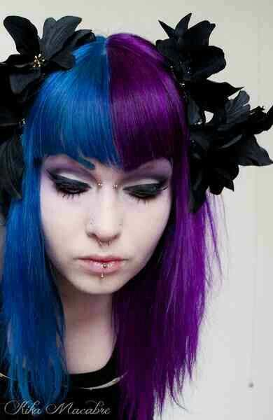 Half And Half Blue And Purple Hair So Pretty Half And Half Hair Half Colored Hair Purple Hair