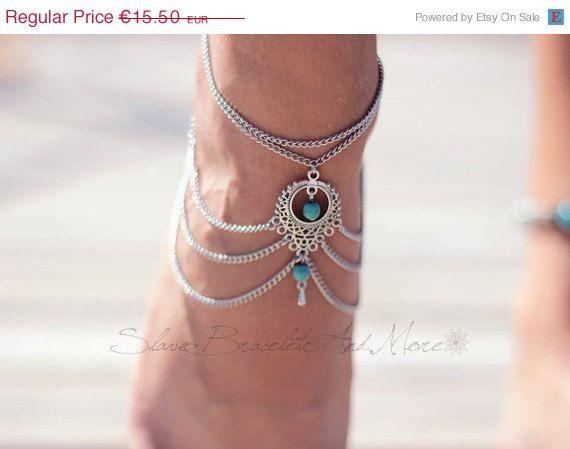 Yean Bracelet de cheville Boho Turquoise Simple Pied de Plage Bijoux pour Femme et Fille