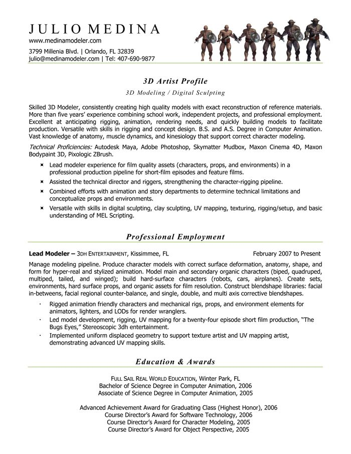 computer animation resume Computer Animation Resume Samples - 3d artist resume