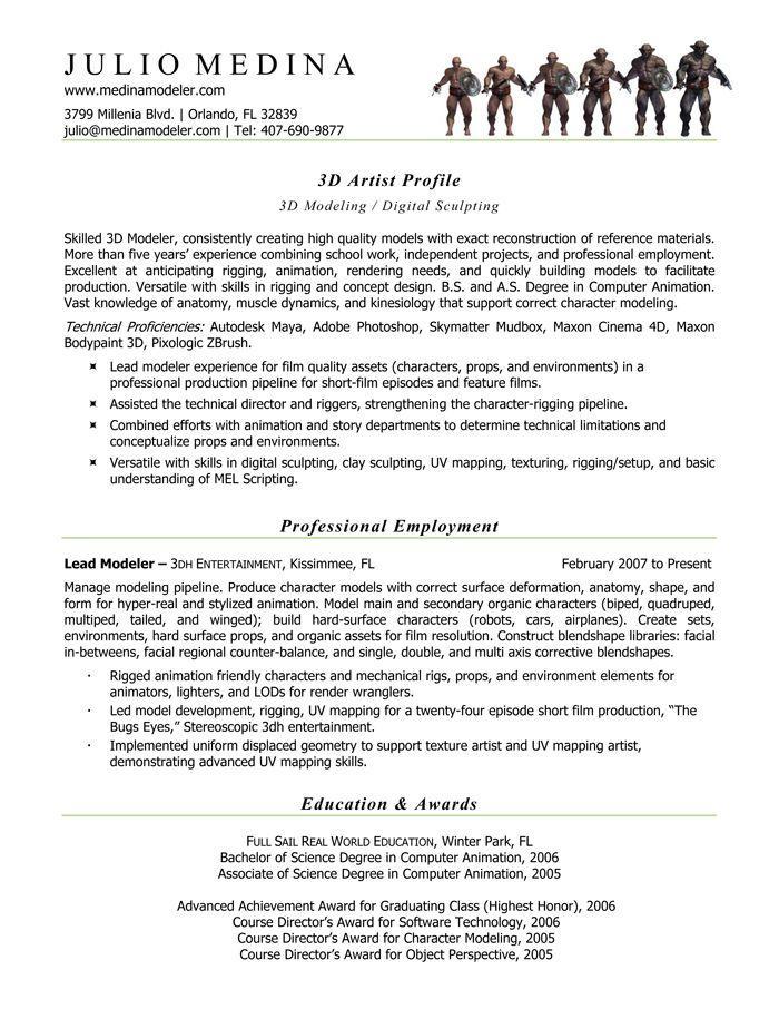 Computer Animator 3d Character Modeler Resume Format Sample Resume Resume