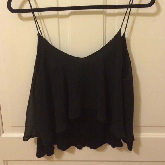 Urban Outfitters black top Black flowy tank top, double layered, in between a crop and regular length top, Urban Outfitters Tops