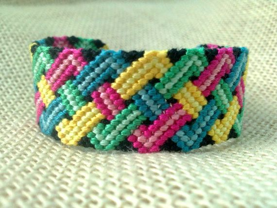 Friendship Bracelet  Black Blue Green Red and Yellow by FriendsnMe, $8.00