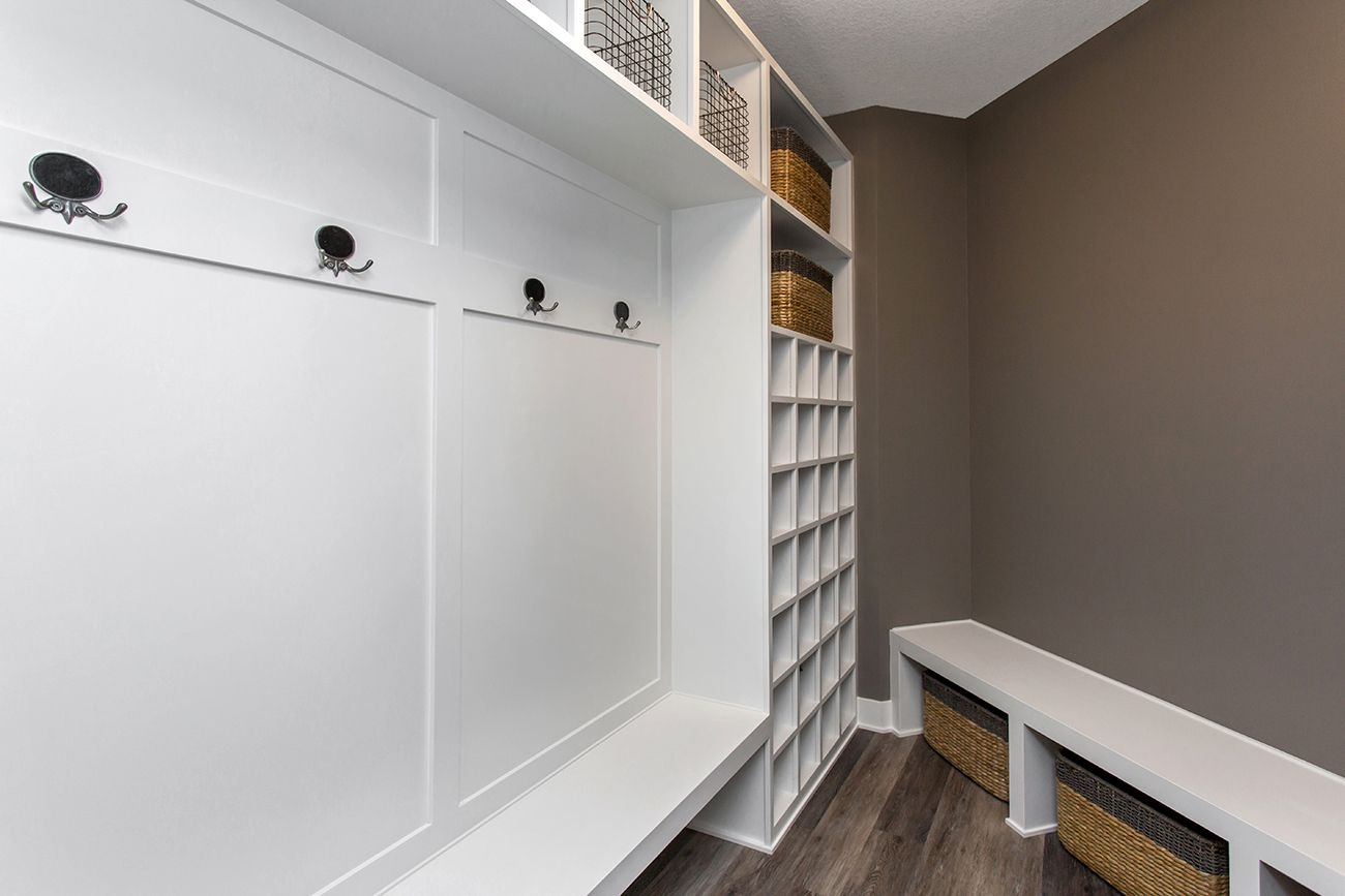 mudroom, built in storage | Bella Homes Iowa Interior Trimwork ...