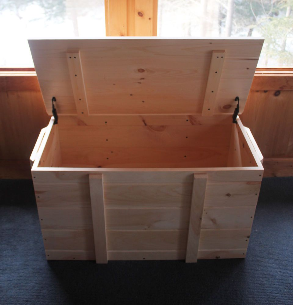 Wood Pellet Storage Box, Large Boot Chest, Unfinished Pine Storage Trunk  #JamaicaCottageShop #