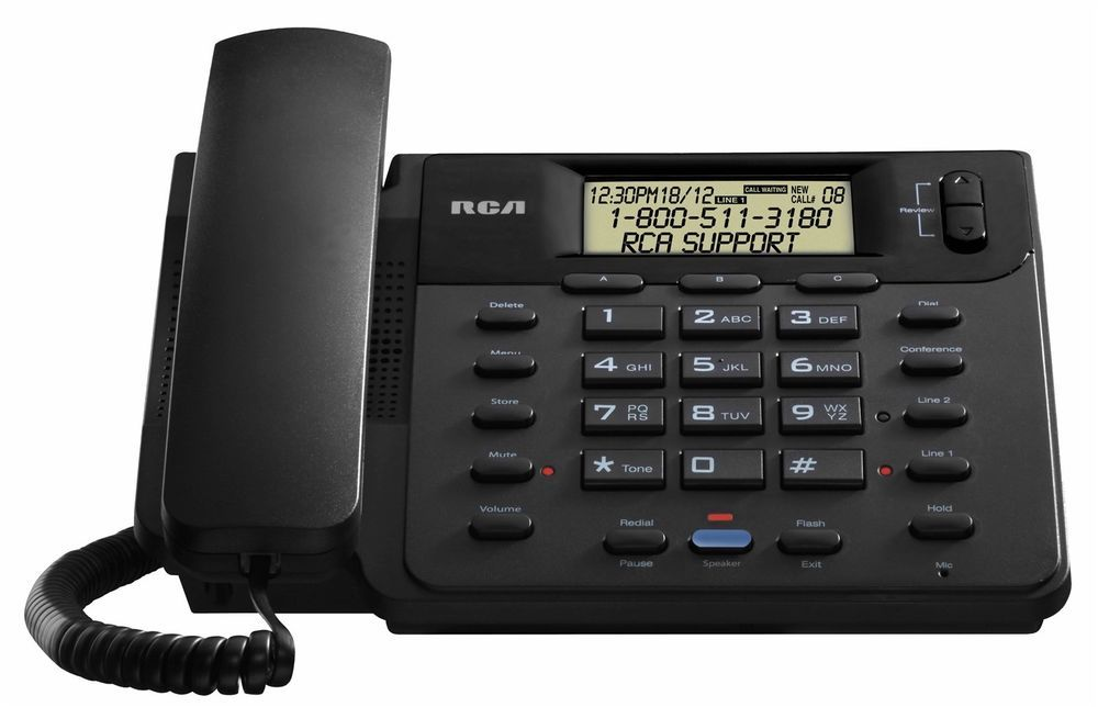 RCA 25201RE1 2 Line Corded Desk/Wall Phone w/Caller ID