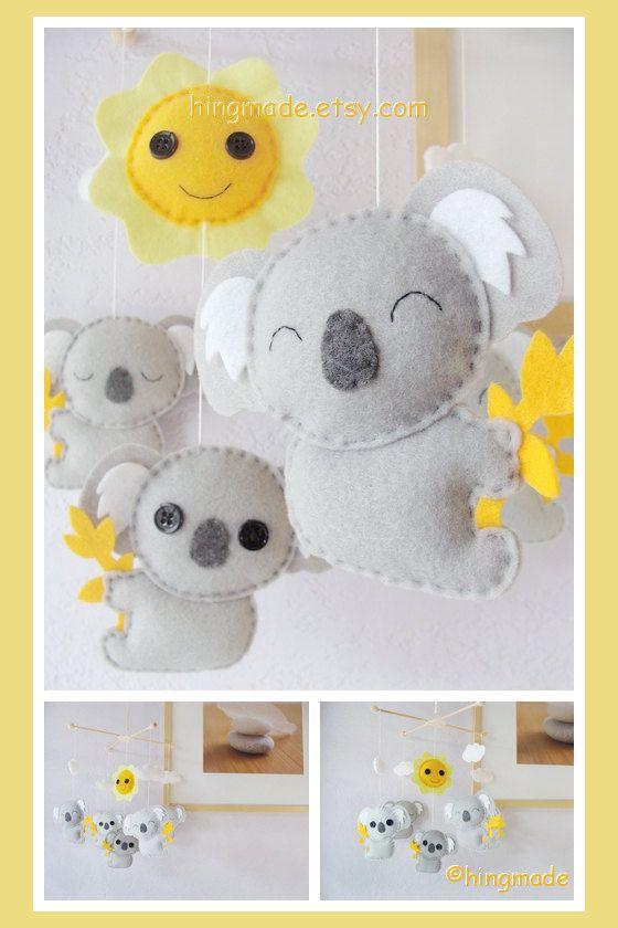 Baby Crib Mobile - Koala Mobile - Nursery Felt Mobile - Modern Cute Mobile - Australian Gray Koalas and Sun (Custom color available)