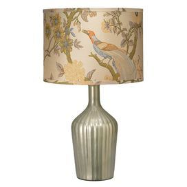"""Fluted table lamp with an enamel glass base and garden-detailed silk shade.   Product: Table lampConstruction Material: Glass and silk Color: MultiAccommodates: (1) 150 Watt bulb - not includedDimensions: 28.5"""" H x 6.5"""" Diameter"""