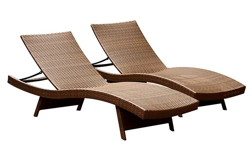 Hunter Outdoor Chaise Longues Brown Now 364 00 Was
