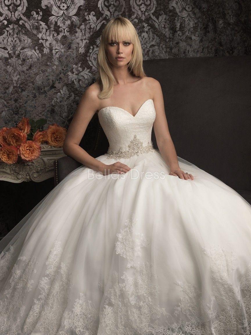 Dramatic Princess Lace & Tulle Chapel Train Sweetheart Wedding ...
