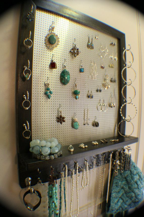 Ebony and Chrome Stained Wall Mounted Jewelry Organizer Wall DIY
