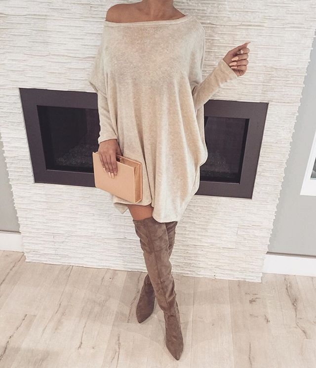14 outfits with a cozy oversized sweater dress   High boots ...