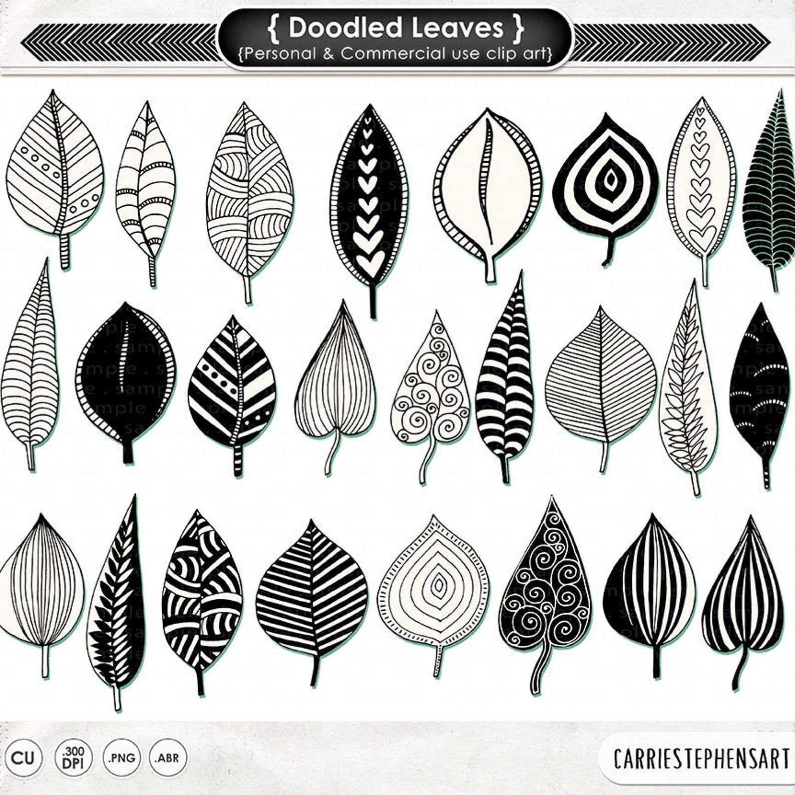 Doodled Leaves Clip Art Png Leaf Digital Stamp Printable Photoshop Brush Cardmaking Clipart Natural Zen Design Nature Foliage Pattern Art Clip Art Hand Doodles