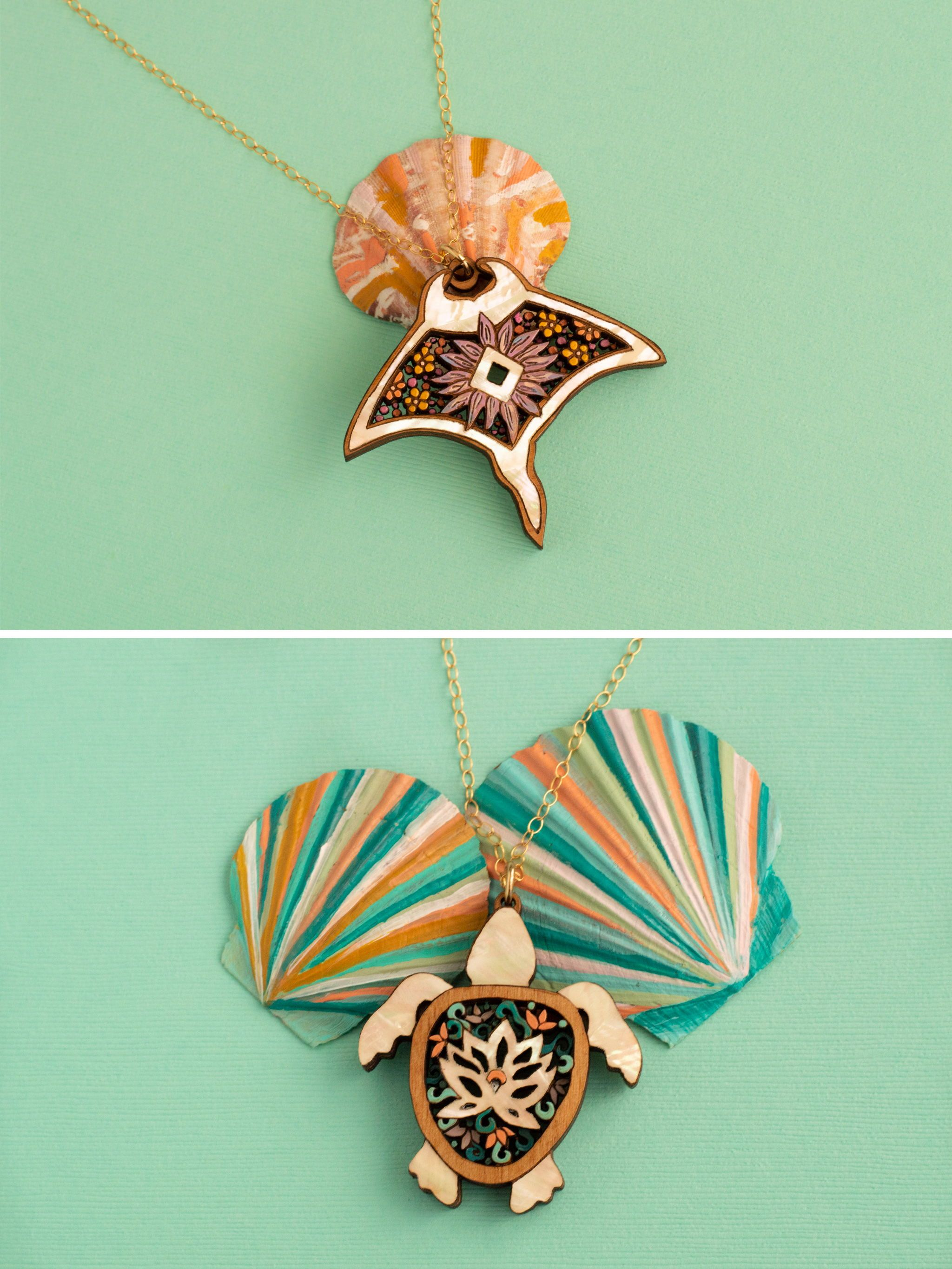 Sea Turtle Necklace With Abalone Inlay Handmade Manta Ray Wooden