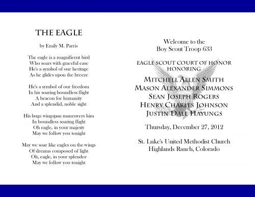 Honor blue eagle scout court of honor programs scouts for Eagle scout court of honor program template