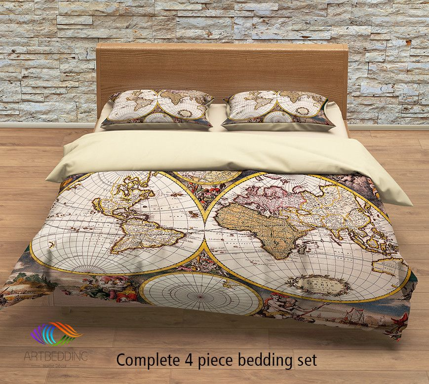 Old world map bedding vintage 18th century hemisphere vintage map bedding vintage old map duvet cover antique map queen king gumiabroncs Images