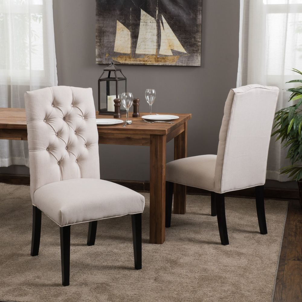 Set of 6 Crown Top Natural Tufted Fabric Dining Chairs