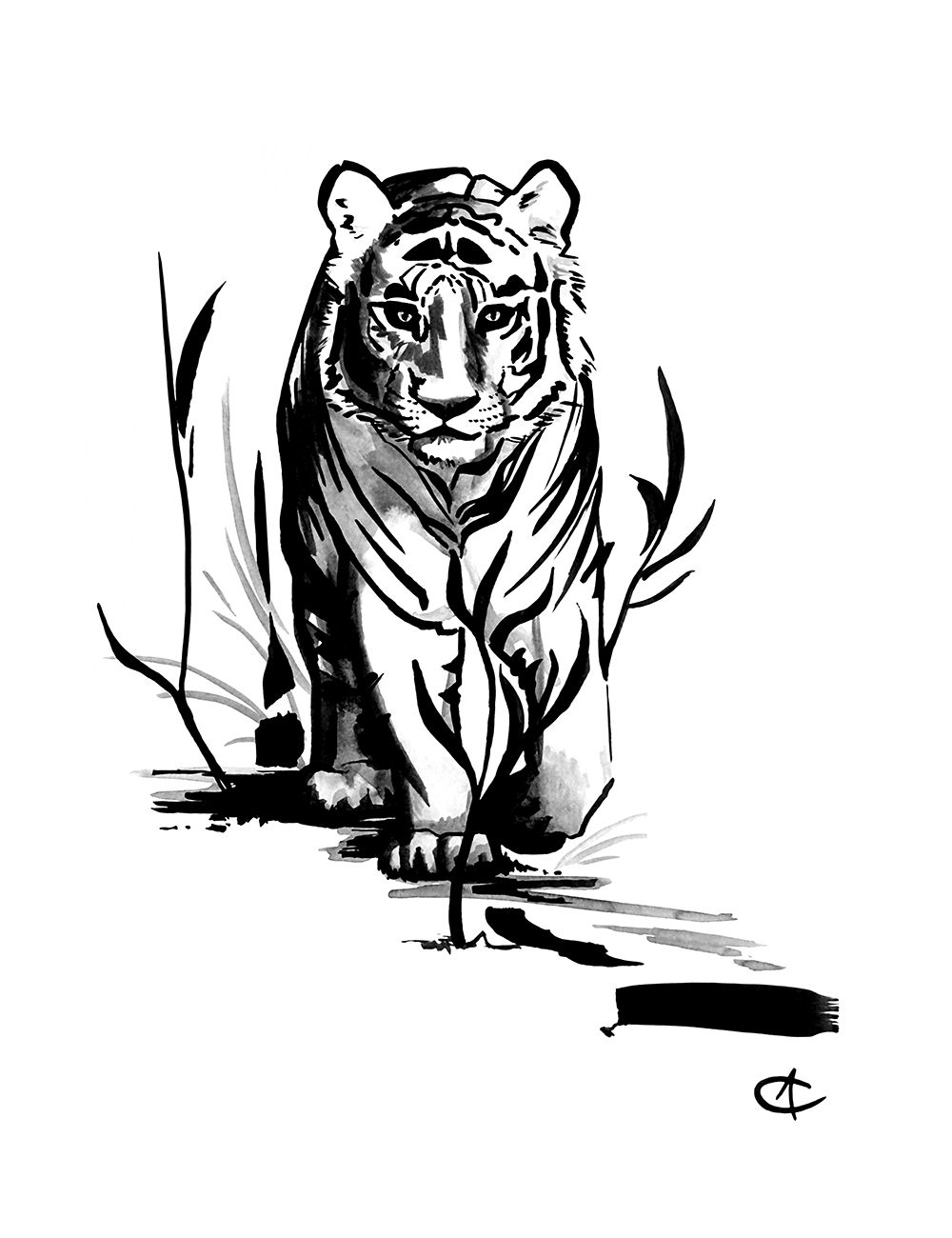 Ink Flow: Tiger - Alora Cholette - 2017 - Hand painted india ink. Prints and merch available in store: https://www.designbyhumans.com/shop/AloraCholette/