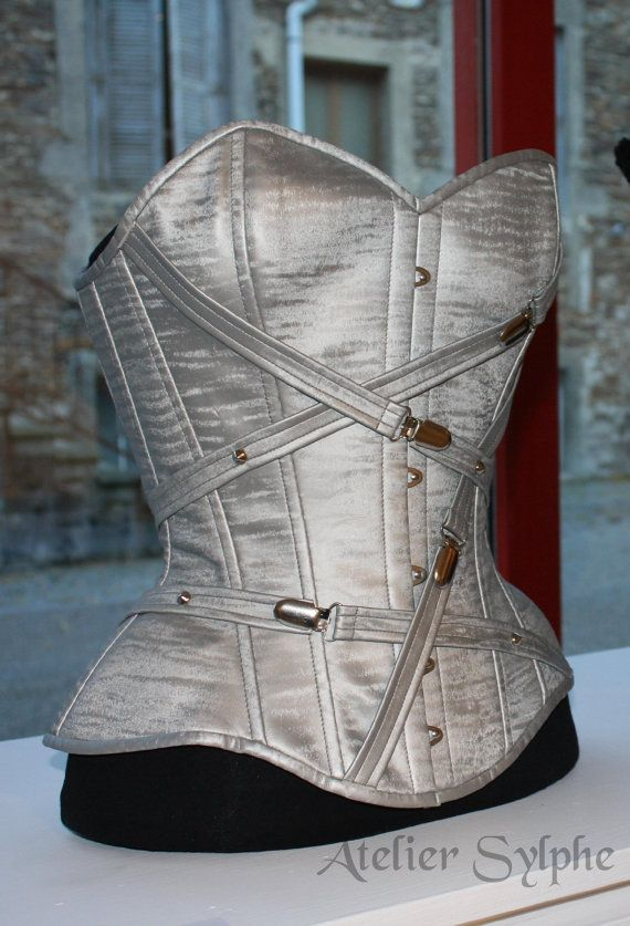 b94c291b5a Silver Grey PVC overbust boned cinched corset with chrome buckles and PVC  straps detail Jeans And