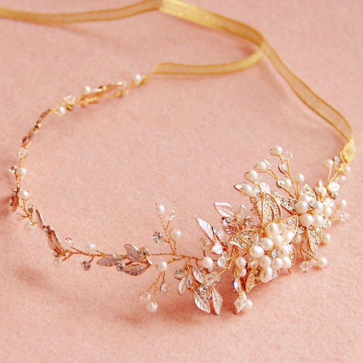 Handmade Gold Rhinestone Pearl Bridal Headbands Headpieces Wedding Hair Accessories Jewelry Crystal Headband With Ribbon