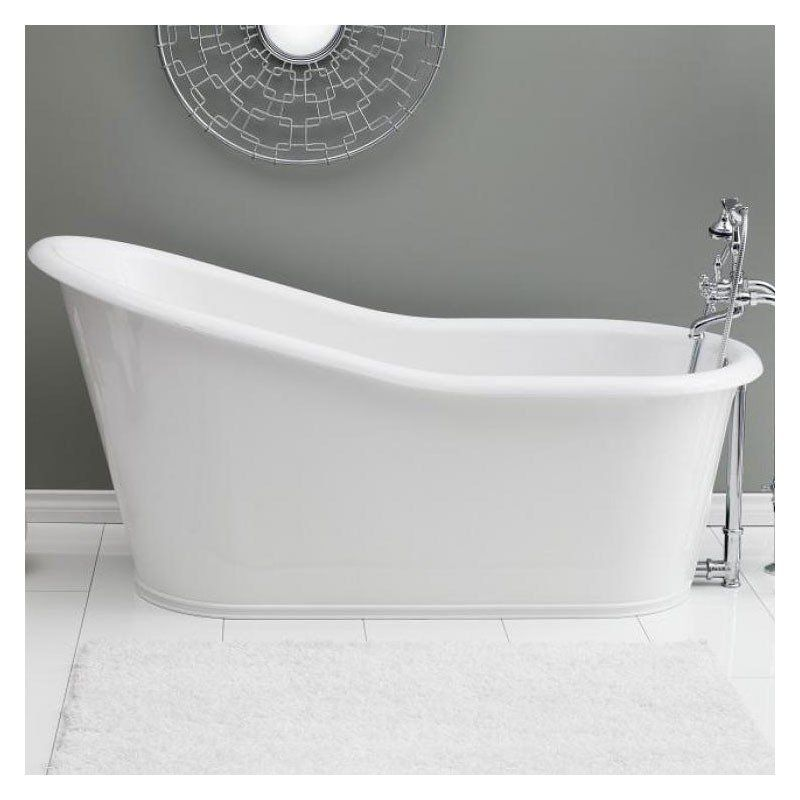 Dakota 68 Inch Cast Iron Slipper Bathtub Continuous Rolled Rim