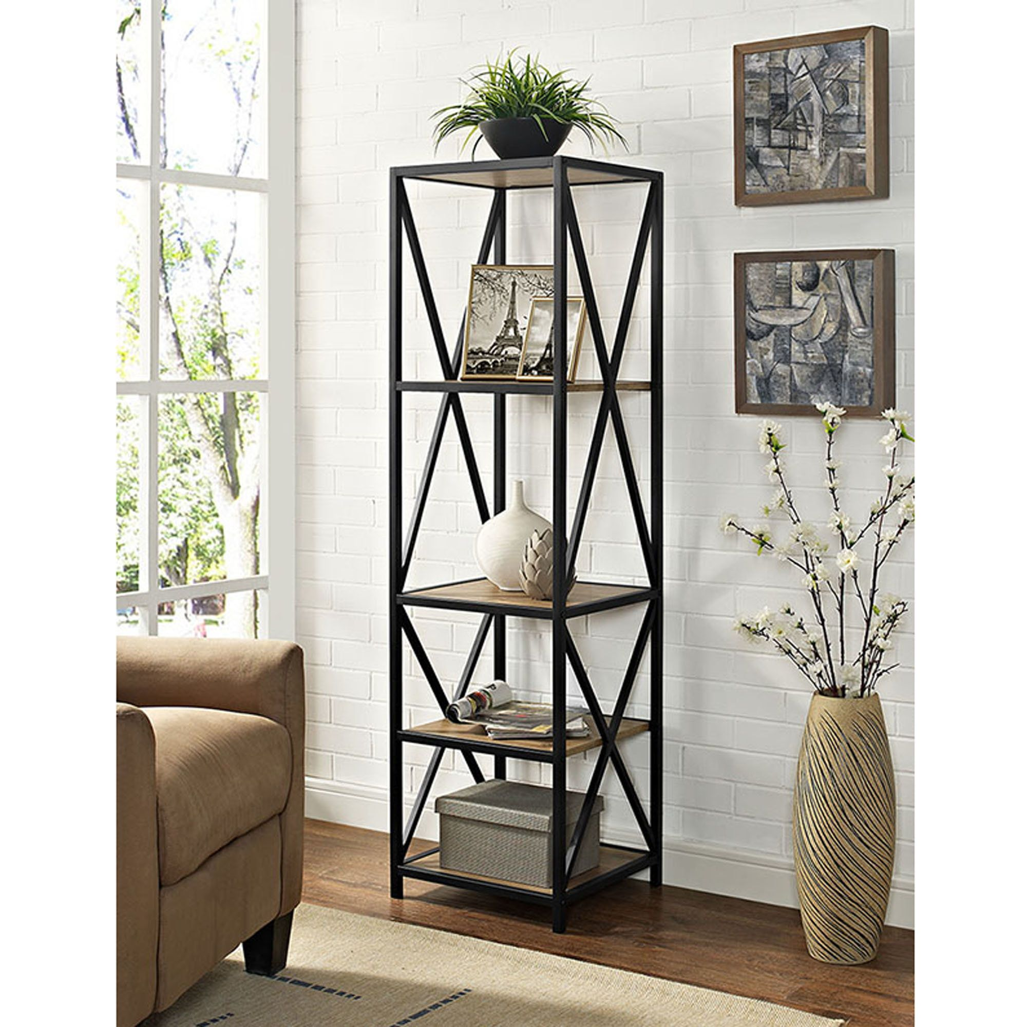 Augustus X Frame Metal And Wood Media 61 Etagere Bookcase