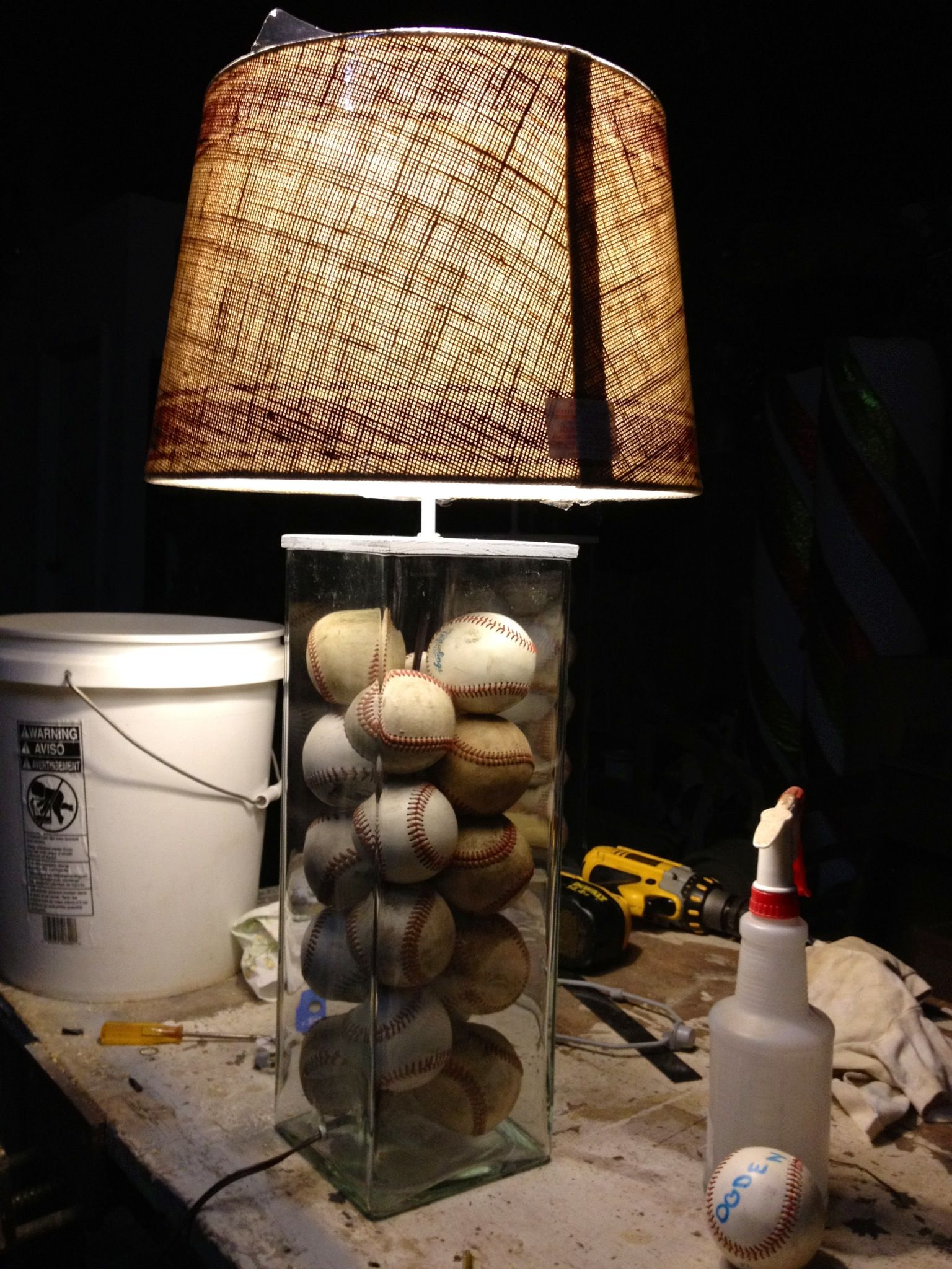 DIY Baseball Lamp Scroll Down To See This What A Great Idea For Boys Room