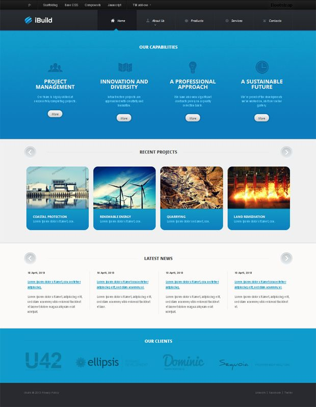 Cyan and White Civil Engineering Bootstrap Website Template - resume website template