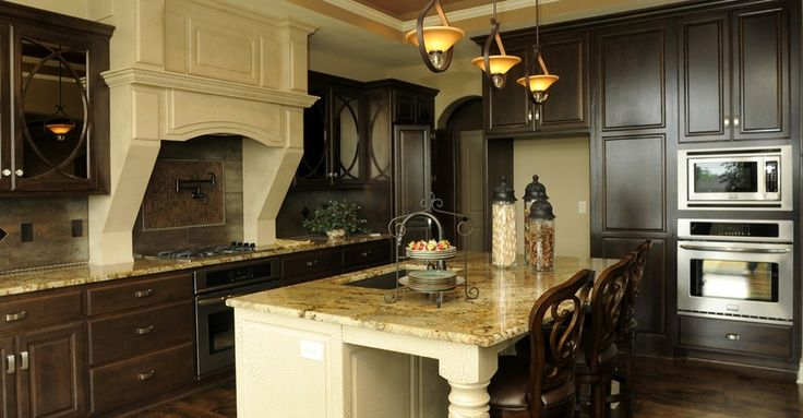 Dark Cabinets Light Island | Houzz