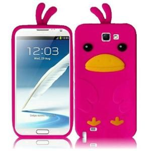 INSTEN For Samsung Galaxy S Note 2 N7100 Funny Duck Silicone Skin Cover - Hot Pink