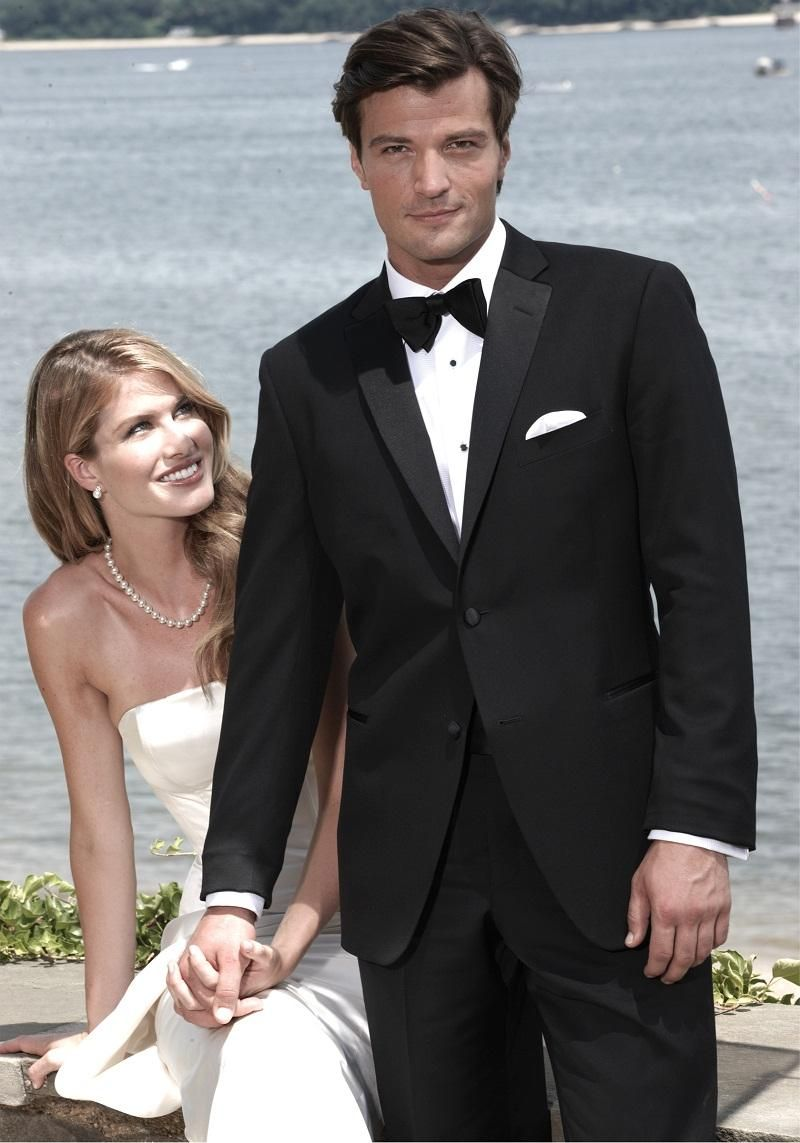 Click to buy ucuc high quality two button black groom tuxedos