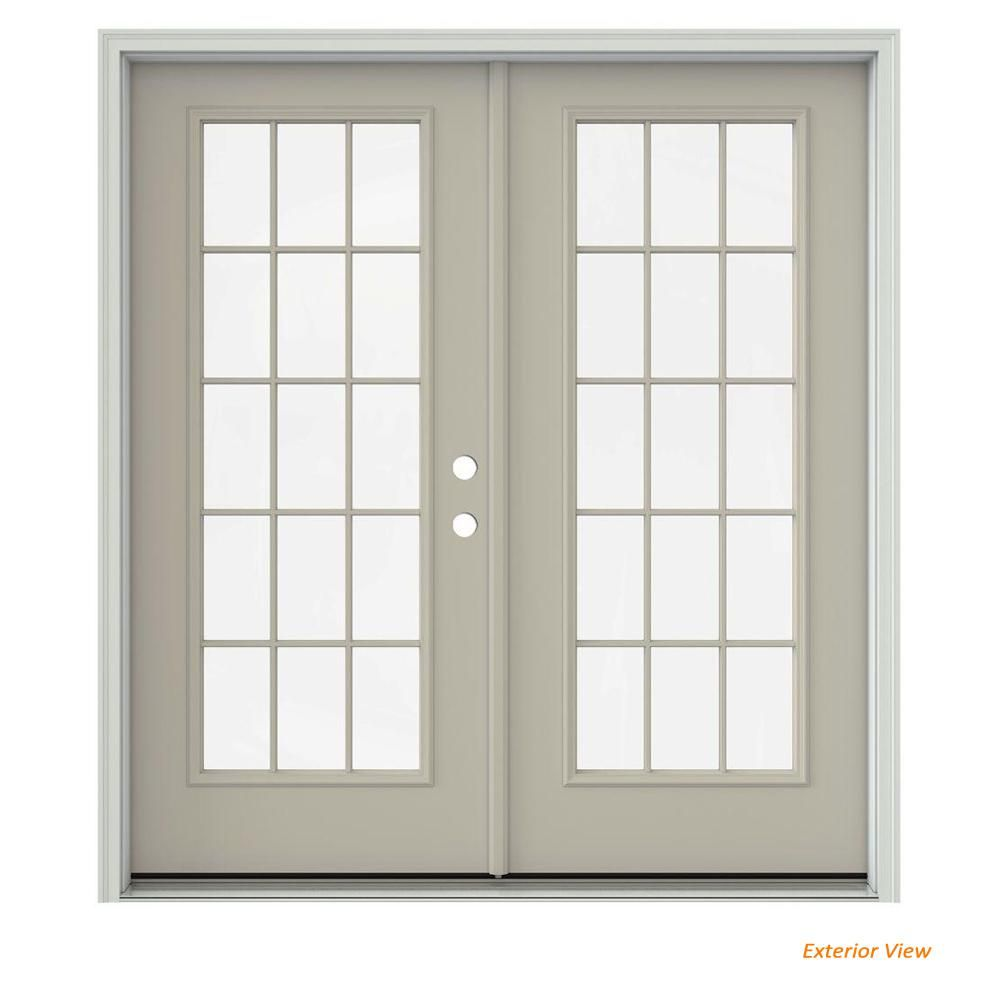 Jeld Wen 72 In X 80 In Desert Sand Painted Steel Left Hand Inswing 15 Lite Glass Active Stationary Patio Door Thdjw205900753 Patio Doors French Doors Patio Sand Painting