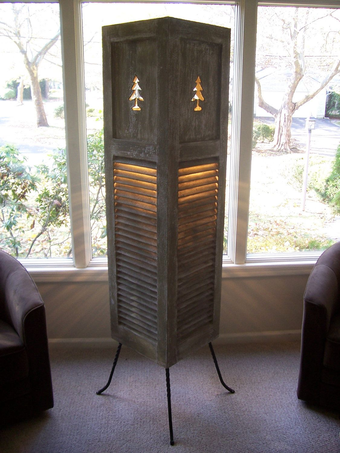 Repurposed Vintage Shutter Floor Lamp w/Distressed Finished & Pine ...