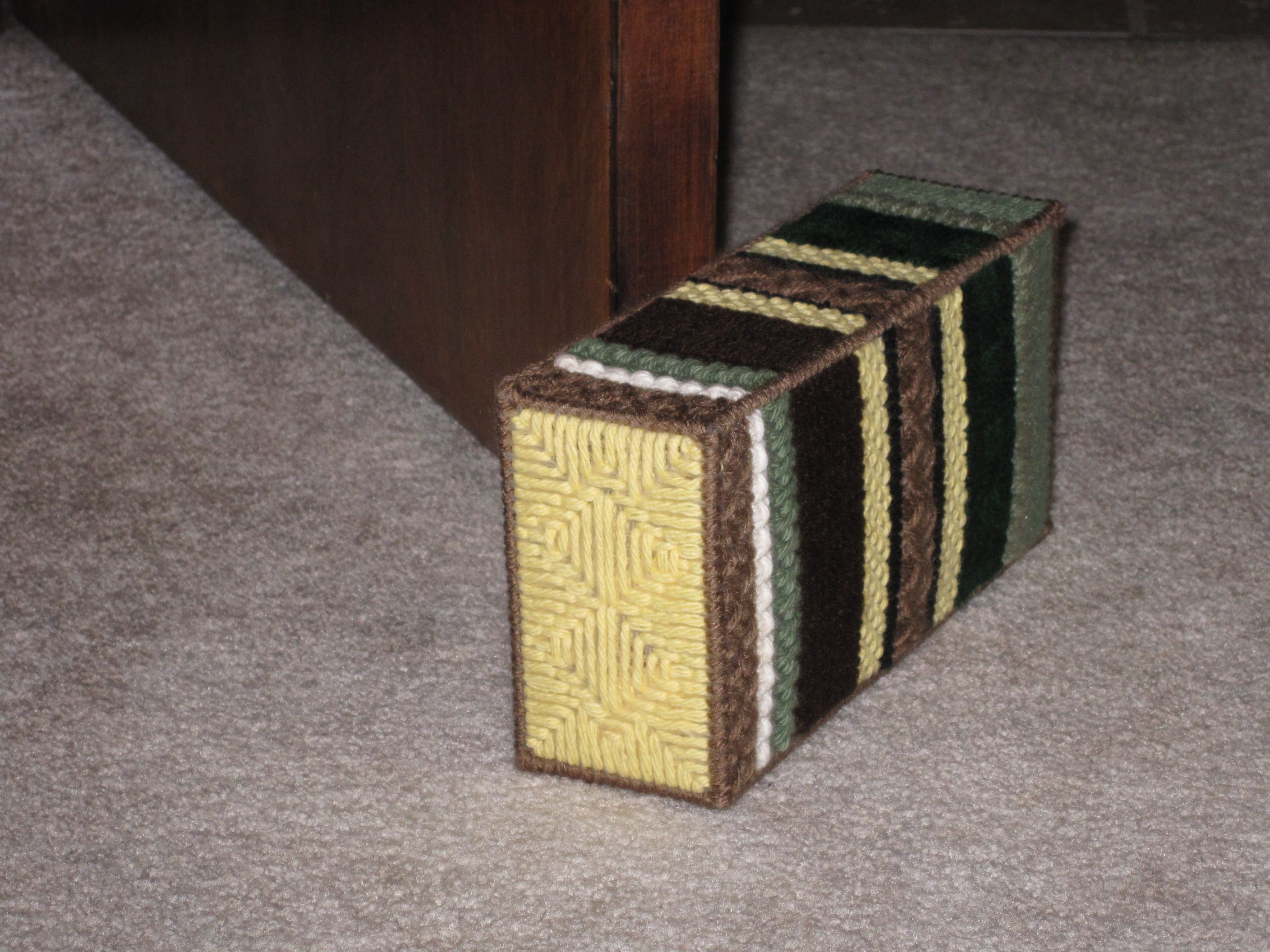 Door Stop I Made By Sewing Plastic Canvas And Inserting