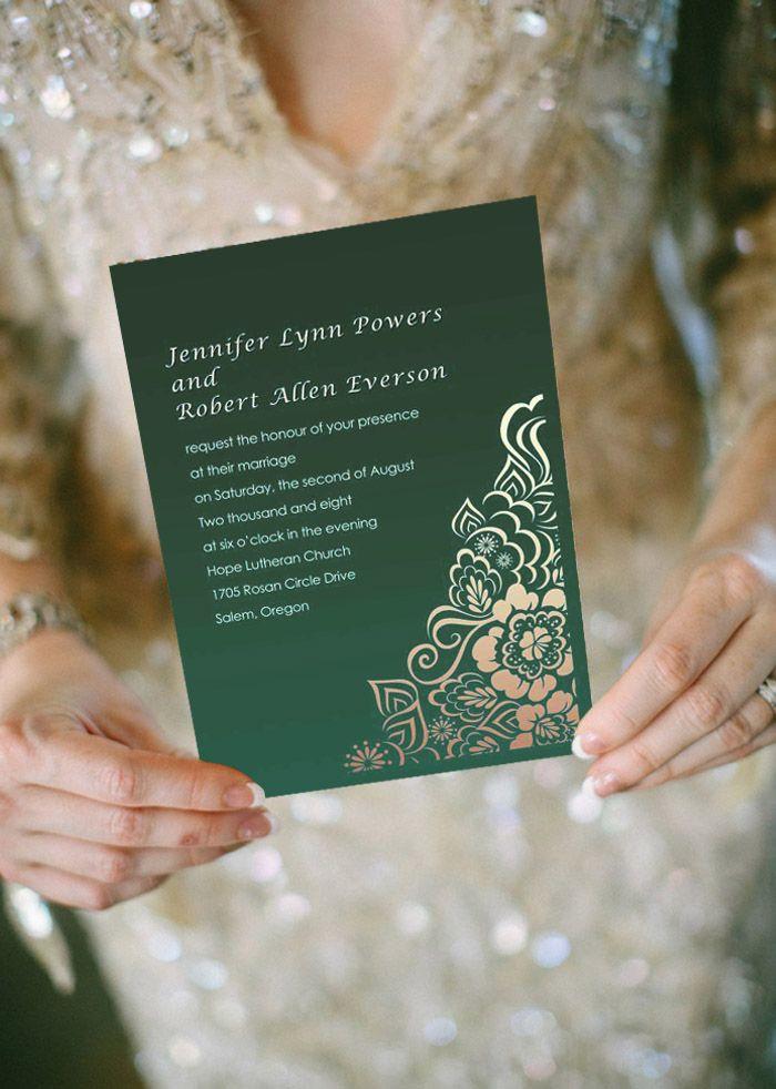Elegant damask emerald green wedding invitations EWI029 | Pinterest ...