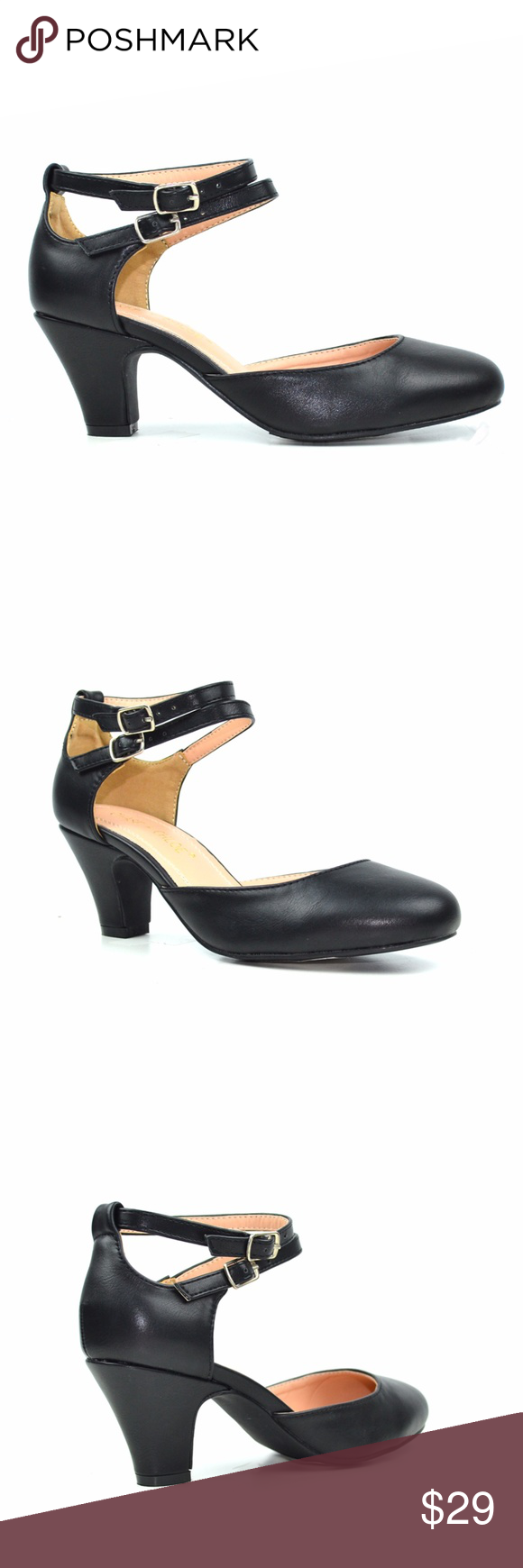 c34959ec0b9 Chase & Chloe Mina Black D'orsay Low Heel Pump A dramatic round toe ...